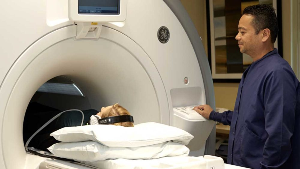 MRI technologist patient listening to music