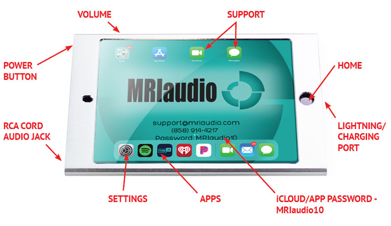 MRIaudio iPad interface